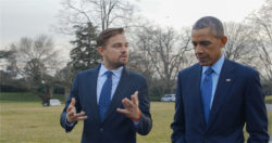 Leonardo DiCaprio with President Obama. For two years, Leonardo DiCaprio has criss-crossed the planet in his role as UN messenger of Peace on Climate Change. This film, executive produced by Brett Ratner and Martin Scorsese, follows that journey to find both the crisis points and the solutions to this existential threat to human species. The climate change feature documentary 'Before the Flood' airs globally on the National Geographic Channel October 30.(photo credit: © 2016 RatPac Documentary Films, LLC and Greenhour Corporation, Inc.)