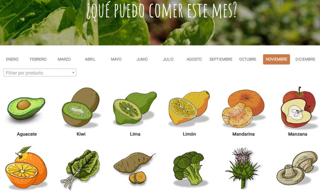 En la web, un calendario colaborativo de frutas y verduras en España