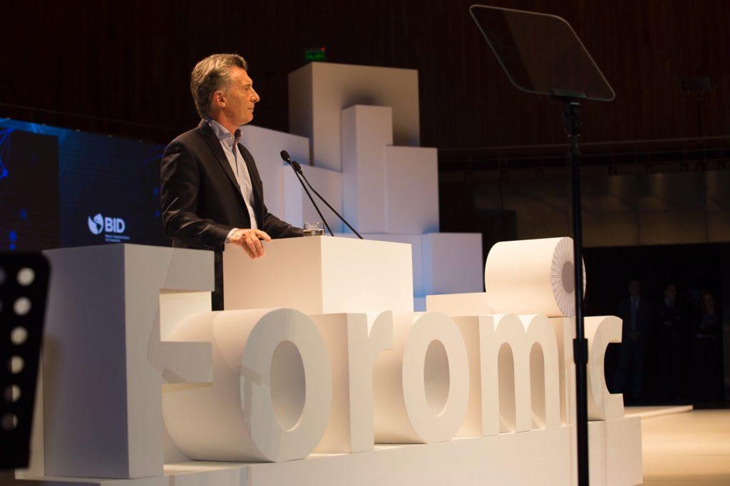 Mauricio Macri en la apertura del Foromic -Inclusión Financiera-