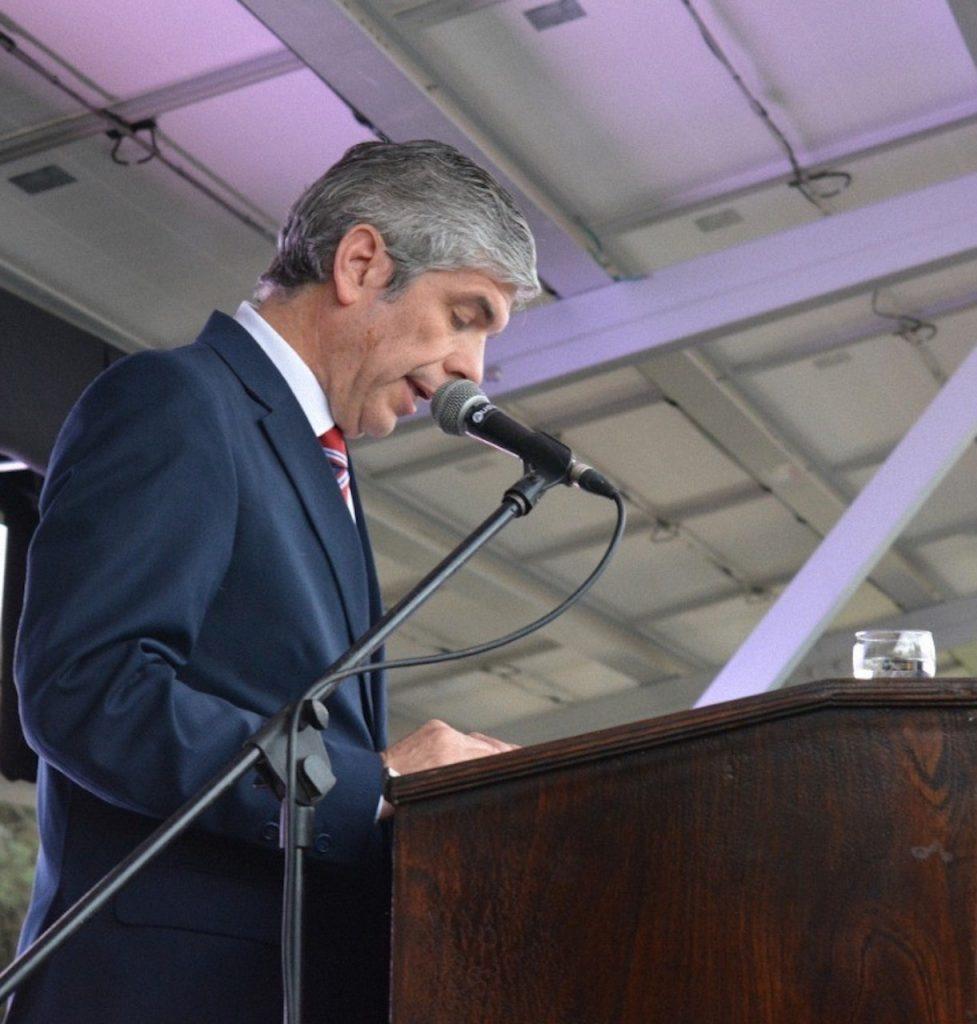 El rector de la Ucasal, Rodolfo Gallo Cornejo, en su discurso de inauguración